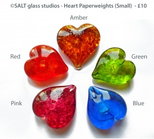 ©SALT glass studios.Glass Hearts (Small) Pink.Green.Blue.Amber