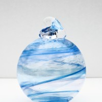 10.©SALT glass studios. Hand Blown Glass Spheres. Blue Transparent & White Opaque.DSCF55877
