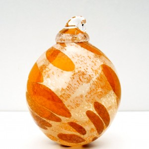 11.©SALT glass studios. Hand Blown Glass Spheres. Orange &  White Opaque DSCF5619