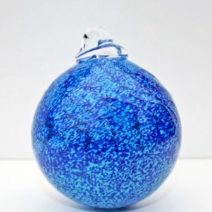13.©SALT glass studios. Hand Blown Glass Spheres. Blue Transperant &  White Opaque. DSCF5614