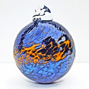 14.©SALT glass studios. Hand Blown Glass Spheres. Orange & Sliver Blue Lustre Opaque.DSCF5660