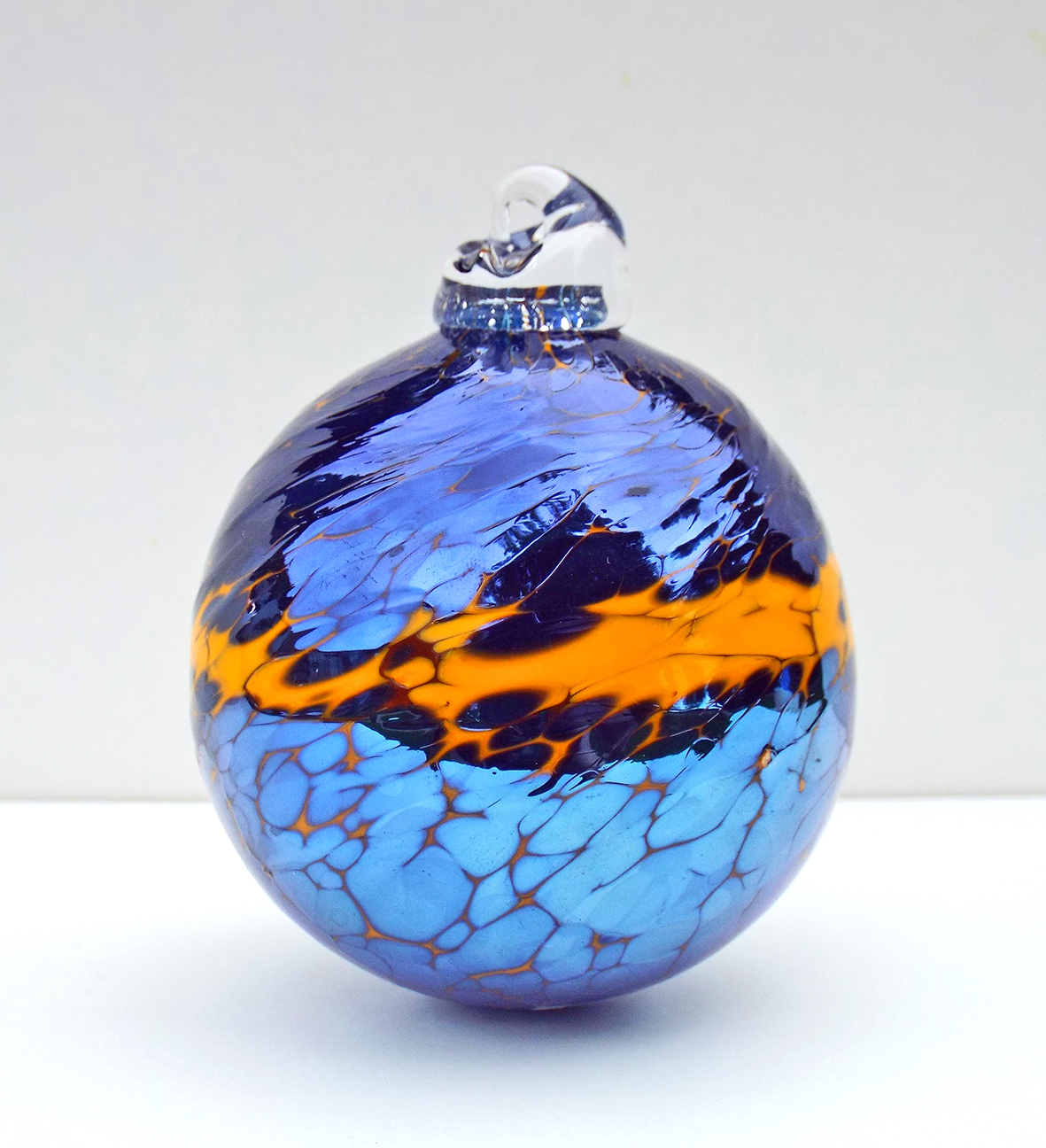 SALT glass studios. Hand Blown Glass Spheres. Orange & Sliver Blue ...