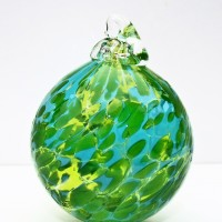 3.©SALT glass studios. Hand Blown Glass Spheres.Green Transparent & Aqua Opaque.DSCF5580