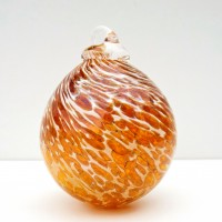 7.©SALT glass studios. Hand Blown Glass Spheres. Amber Transparent &  White Opaque DSCF5605