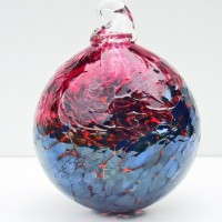 8.©SALT glass studios. Hand Blown Glass Spheres. Red Transparent & Sliver Blue Lustre Opaque DSCF5635