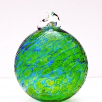 9.©SALT glass studios. Hand Blown Glass Spheres. Emerald Green & Cobalt Blue Transparent.X.DSCF5603